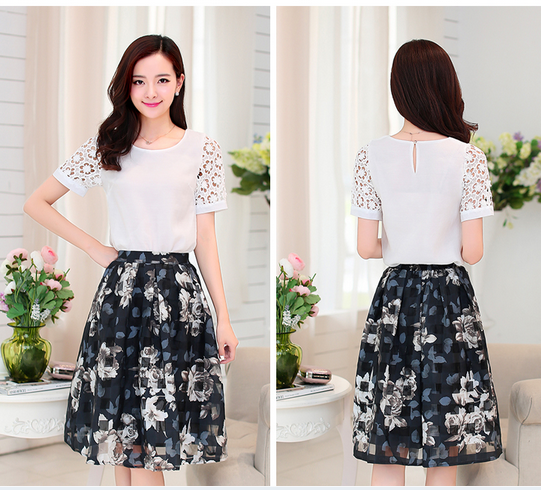 d20316f 2015 summer new hollow short sleeve tops+Printing skirt suit