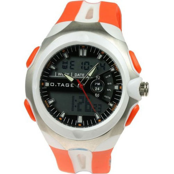 Hot Sell White Orange Analog Digital Sport Watch Man Women