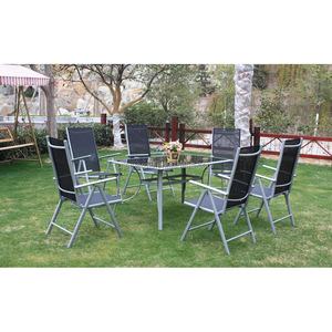 outdoor folding aluminum garden dining table set 6 chairs