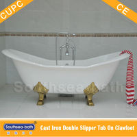 cheap double slipper cast iron bathtub/ big traditional enamel bathtub