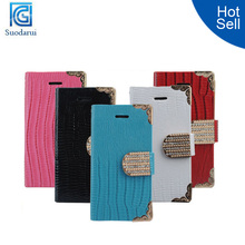Luxury Diamond Magnetic Bling Shiny Crystal PU Leather Flip Wallet Case for iPhone 4S Cover