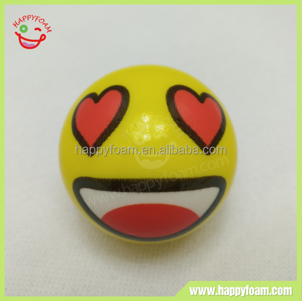 Erotic smile face emoji PU stress ball toy , high quality soft foam bouncing ball