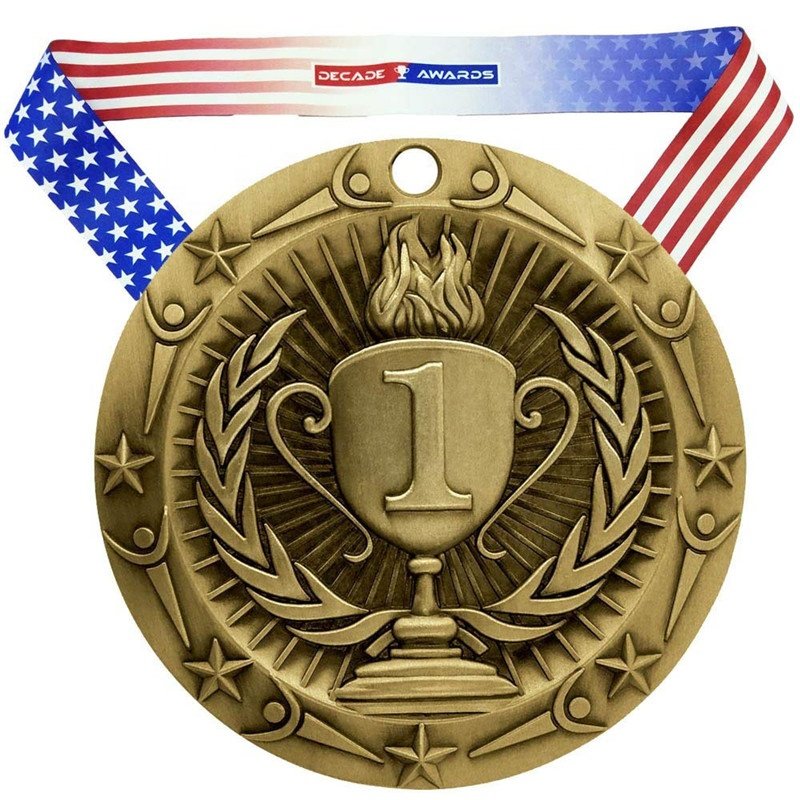 World Class Medal Customized 3D Cup Winner Souvenir Award With American Flag V Neck Ribbon