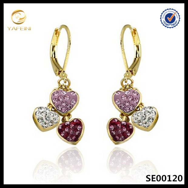 Factory promotion multi-color triple hearts clip earring for girls,new designs gold jhumka earring
