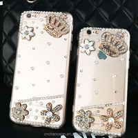 Phone accessories, crown flower design TPU Arcylic luxury crystal diamond bling phone case for iphone 5 5s 6 6s 6plus 6splus