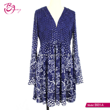 GuangZhou supplier Ladies Plus Size Clothing Ethnic Print Lace Dresses For Fat lady
