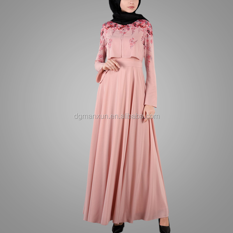 2017 Embellished Floral Dress Jalabiya Kaftan Dresses Wholesale Popular Dubai Abaya Islamic Clothing