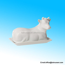 White Porcelain Butter Dish Cow Shaped