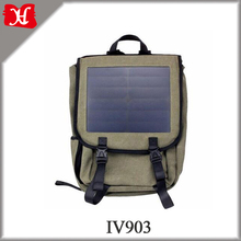 2017 Hot Selling Outdoor Travel Canvas Solar Backpack for Charging Mobile Phone