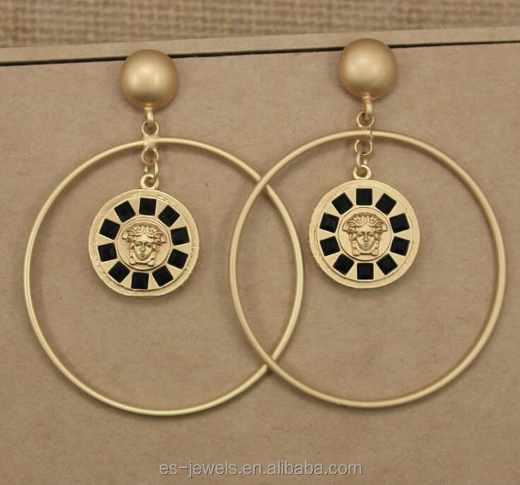 Baroque Style Fashion Alloy Hoop Earrings with Crystal