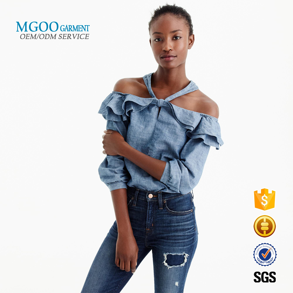 MGOO Garment 2018 New product Off-the-shoulder tie-neck top with ruffles denim long sleeves women top