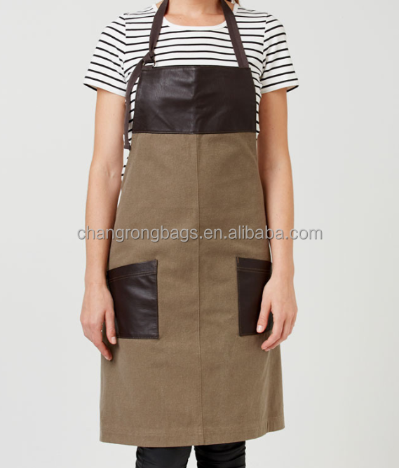 2015 hot selling waxed canvas leather aprons for sale, brown canvas leather welding apron