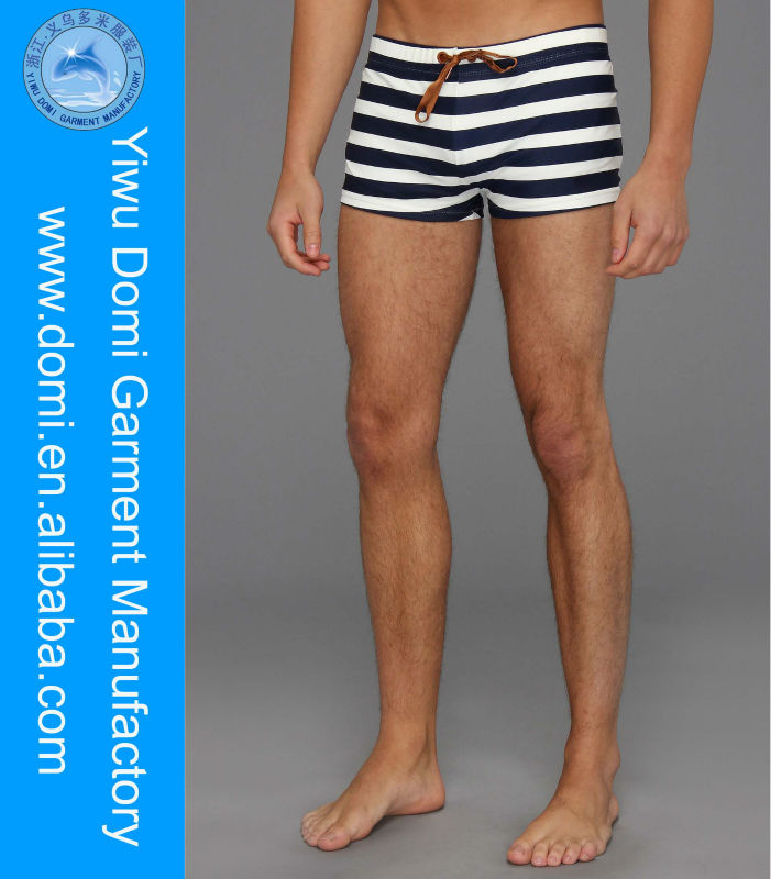 Domi wholesale fashion white and black stripe mens swimwear