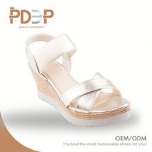 Beautiful good quality pu material girls shoes low heel sandals