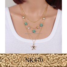 Foreign trade multilayer chain crystal turquoise pentagram geometry alloy sheet pendant necklace jewelry