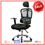 D06# High back black mesh swivel task chair with mesh padded seat, relaxing office chair