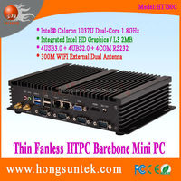 Intel 1037U Industrial PC 1.8G Dual core 1080p Fanless industrial mini box pc with dual lan,vga,rs232 and wifi