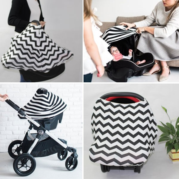stretchy baby car seat cover stripe baby seat canpoy