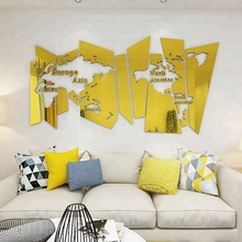 Wall Decoration for Office or Sitting Room Large World Map 3D acrylic mirror Wall Sticker