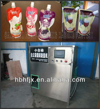 Black Cherry Yoghurt in stand up pouch/sachet with spout/suction nozzle filling and capping machine