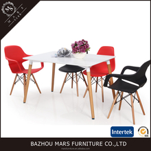 White Matte Glossy MDF Top Metal Frame With Wooden Legs Dining Table