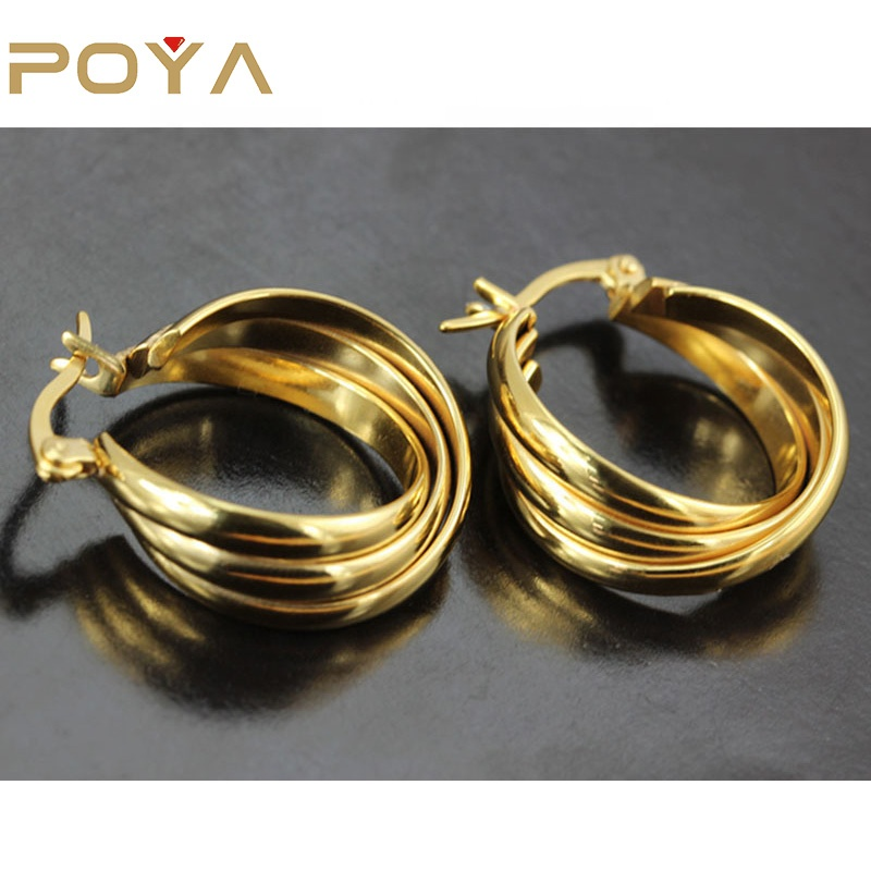 POYA <strong>Jewelry</strong> Stainless Steel Three - Layer Plated Gold Snti-Allergic Earring <strong>Jewelry</strong>
