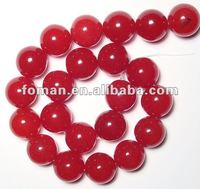 10mm round color dyed red jade beads