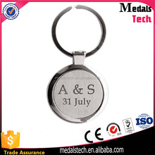 New private custom zinc alloy plating letter 2d metal keychain