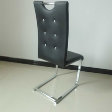 new modern pu chaiar europe style dining chair black leather chrome chair
