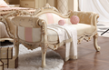 French new classical home furniture solid wood floral carving matching bed bench