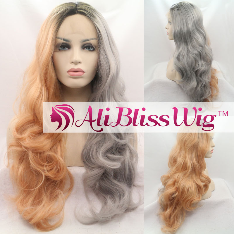 "22"" Wavy Heat OK Dark Roots Three Tone Ombre Grey Blonde Half and Half Color Lace Front Synthetic Wig"