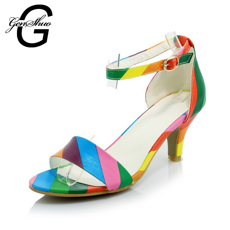 7.5cm Women's High Heel Shoes Sandals Rainbow Peep Toe Cover Heels Buckle Strap Shoes Woman Wedding Party Shoes Summer Sandals