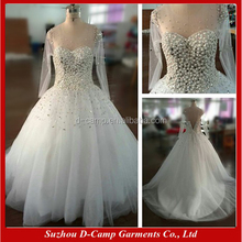 WD070 Ball gown heavy hand beaded sheer long sleeve wedding dress 2017 luxury