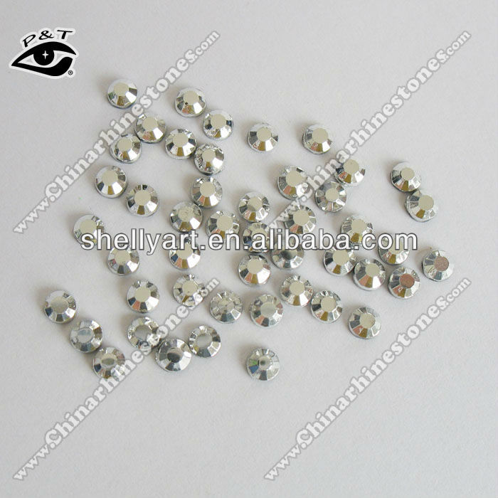 Iron on rhinestone in bulk for apparel hot fix rhinestone 5mm ss20 silver color