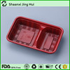 Rectangular red take away plastic food tray with lid