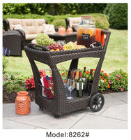 Portal wine beverage cart rack with wheels light weight rattan Serving Trolley Cart hotel trolley