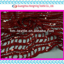 Fold line red water soluble embroidery lace for dress