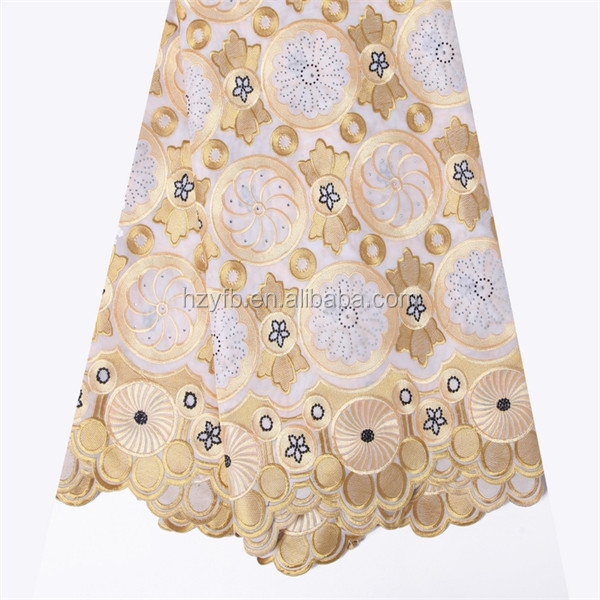 2016 New arrival organza lace fabric gold african lace / swiss lace voile stones / swiss cotton lace fabric
