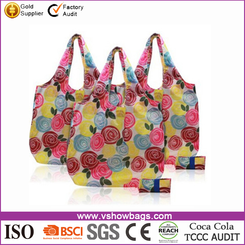 Fashion Cheaper Flower Printing polyester foldable shopping bag for women