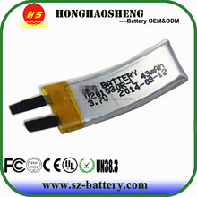 Wholesale price and good quality curve thin rechargeable battery 3.7v 201030 43mah battery for wrist band