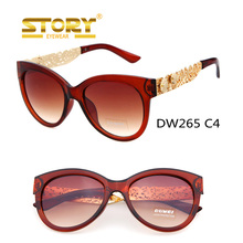 Story Fashion Women Cat eye PC frame with Metal flower Temples Roller Blank Bolle Sunglasses