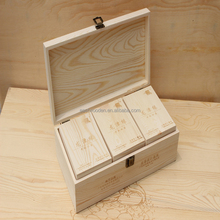 Custom wholesale homemade wood craft, wholesale wooden tea chest with 3 small tea box