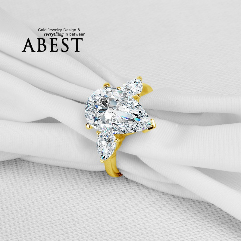 Big 5.0 Carat Pear Shape Main Stone Ring 10K Yellow Gold Micro Pave Setting Simple Wedding Ring Lady's Fashion Jewelry Ring