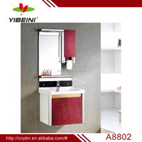 Yibeini vanity red color wall-hung bathroom cabinet