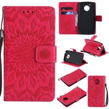 C&T Premium PU Leather Wallet Cover Embossed Mandala Design Phone Case with Card Slots & Wrist Strap for Motorola Moto G5