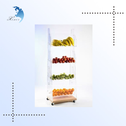 4 shelf acrylic fruit food snack display stand