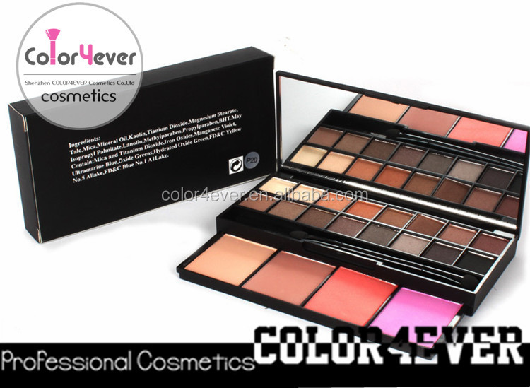 Famous cosmetics brand 16 colors eyeshadow 4 blush makeup imported from china