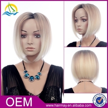 High quality european hair wig synthetic blonde/white ombre wig