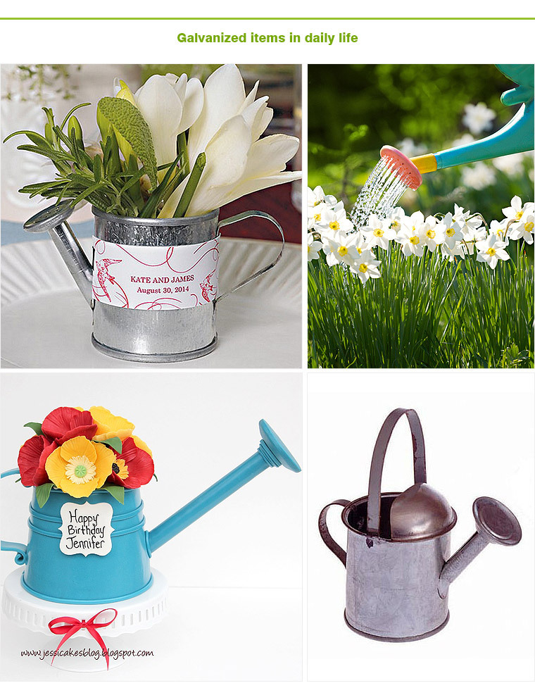 Miniature garden tools galvanized Metal watering can wholesale