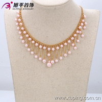 42551-Xuping Women latest bead necklace designs Fashion 18k Gold Chains Necklace Pearl Jewelry